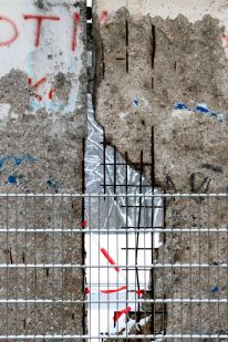 Berlin Wall through a grid